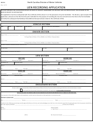 Form MVR-6 Lien Recording Application - North Carolina