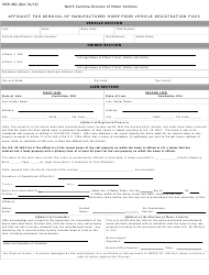 "Form MVR-46G ""Affidavit for Removal of Manufactured Home From Vehicle Registration Files"" - North Carolina"