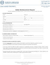 "Form UPD-630 ""Holder Reimbursement Request"" - North Carolina"