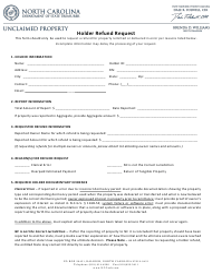 """Holder Refund Request Form"" - North Carolina"