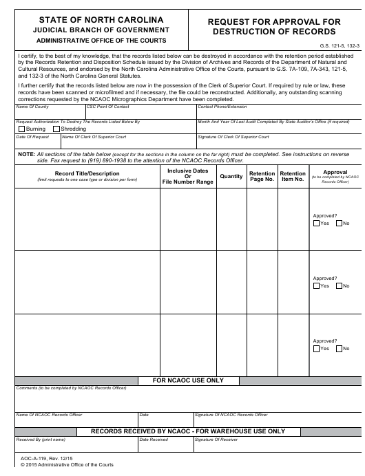 Form AOC-A-119 Printable Pdf