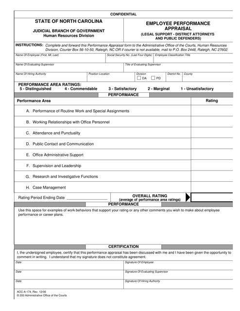 Form AOC-A-174  Printable Pdf