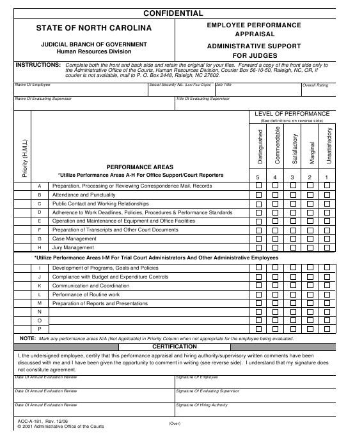 Form AOC-A-181  Printable Pdf