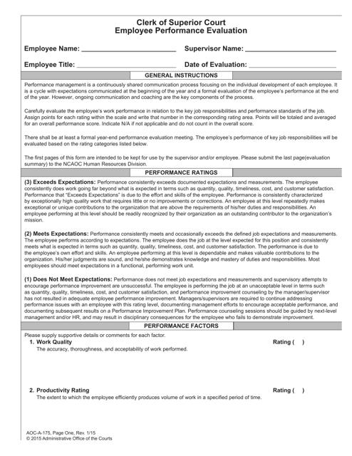 Form AOC-A-175  Printable Pdf
