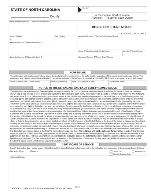 Form AOC-CR-213  Printable Pdf