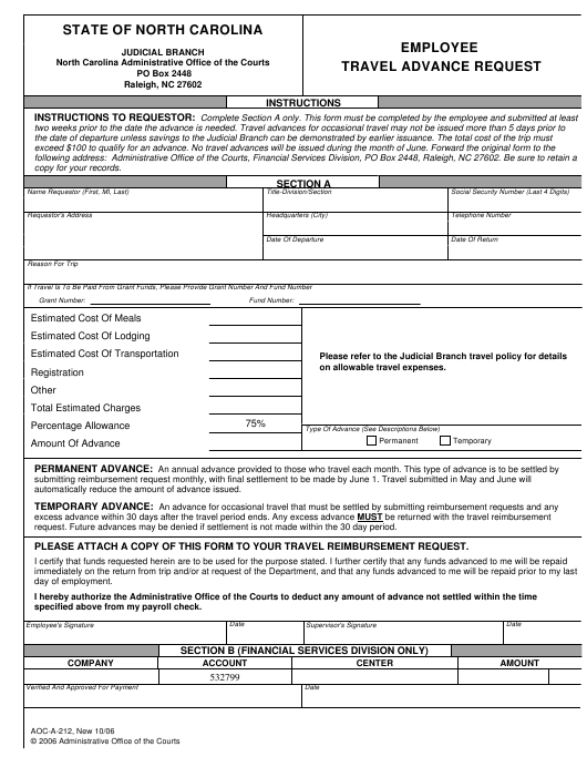 Form Aoc A 212 Download Fillable Pdf Or Fill Online Employee Travel Advance Request North Carolina Templateroller