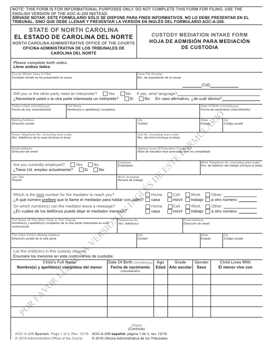 Form AOC-A-208  Printable Pdf