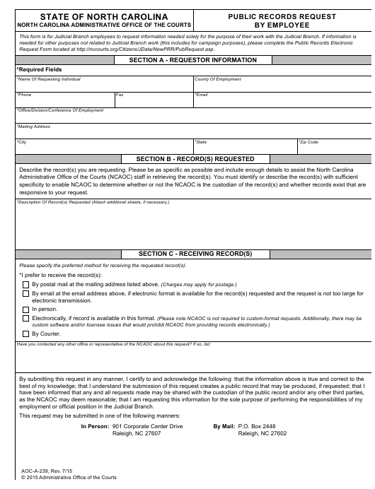Form AOC-A-239  Printable Pdf