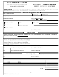 "Form AOC-A-43 ""Statement for Contractual Court Reporter Services"" - North Carolina"
