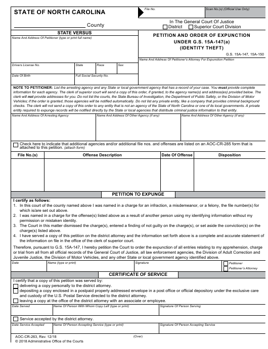 Form AOC-CR-263 Download Fillable PDF, Petition and Order of
