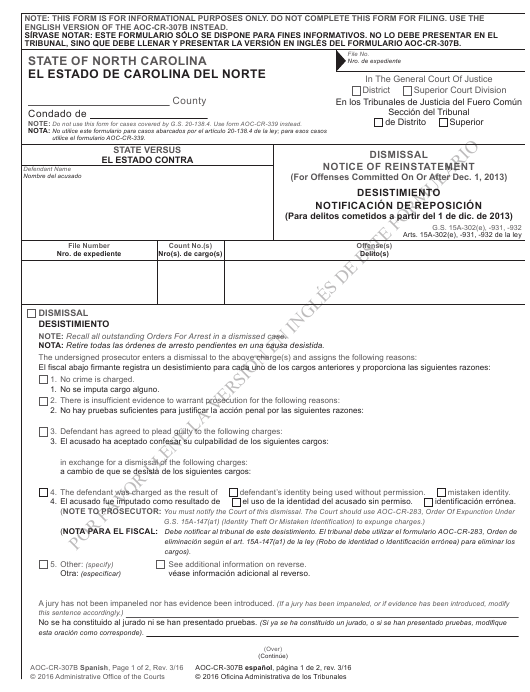 Form AOC-CR-307B SPANISH  Printable Pdf