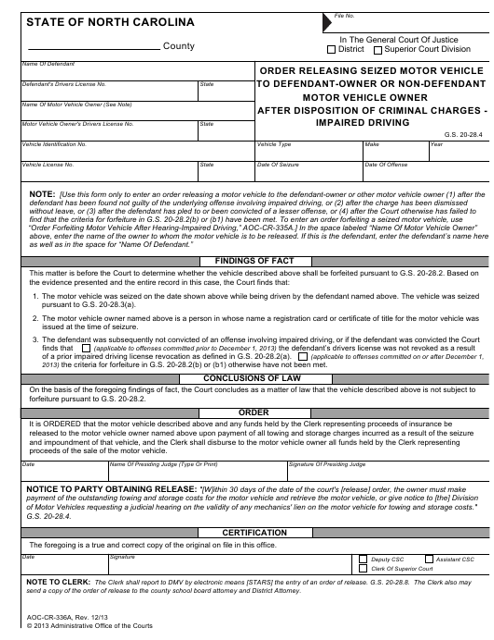 Form AOC-CR-336A Fillable Pdf