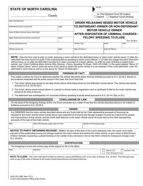 Form AOC-CR-336B Printable Pdf