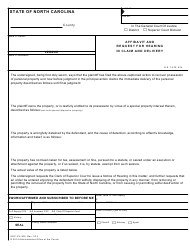 "Form AOC-CV-200 ""Affidavit and Request for Hearing in Claim and Delivery"" - North Carolina"