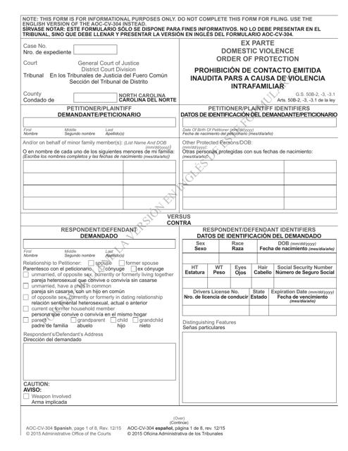 Form AOC-CV-304  Printable Pdf