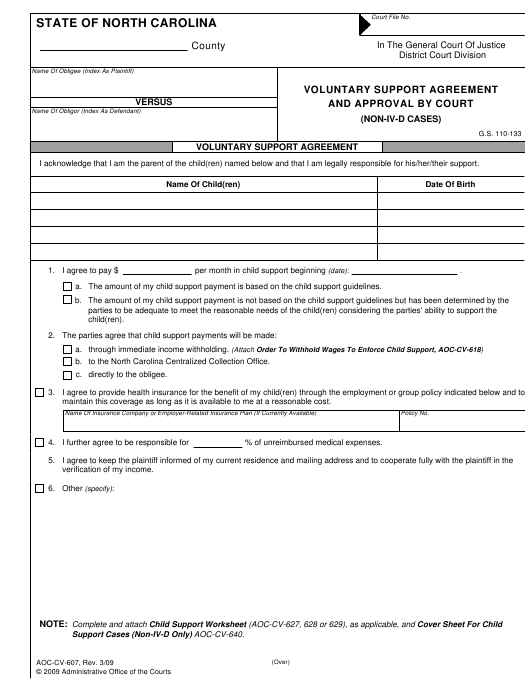 Form Aoc Cv 607 Download Fillable Pdf Voluntary Support