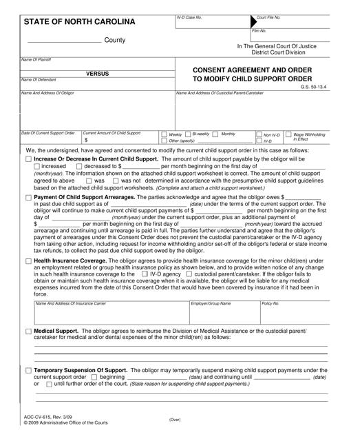 Form AOC-CV-615  Printable Pdf