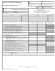 "Form AOC-CV-627 ""Worksheet a - Child Support Obligation Primary Custody"" - North Carolina"
