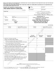 Form AOC-CV-627 Worksheet a - Child Support Obligation Primary Custody (Vietnamese/English) - North Carolina
