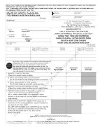 Form AOC-CV-628 Worksheet B - Child Support Obligation Joint or Shared Physical Custody (Vietnamese/English) - North Carolina