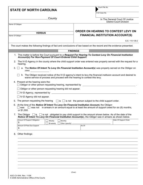 Form AOC-CV-644  Printable Pdf