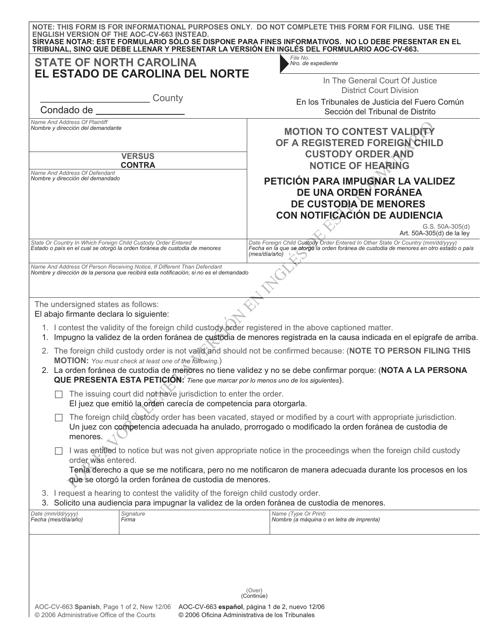 Form AOC-CV-663 SPANISH  Printable Pdf