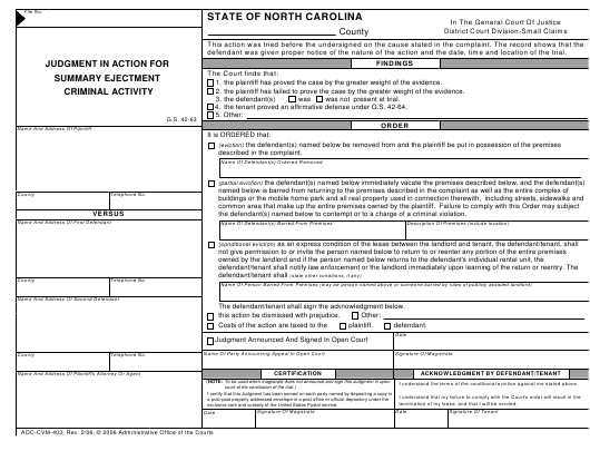 Form AOC-CVM-403  Printable Pdf