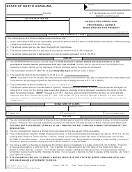 "Form AOC-CVR-14 ""Revocation Order for Provisional License When Person Not Present"" - North Carolina"