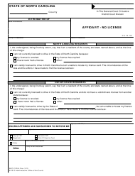 "Form AOC-CVR-8 ""Affidavit - No License"" - North Carolina"