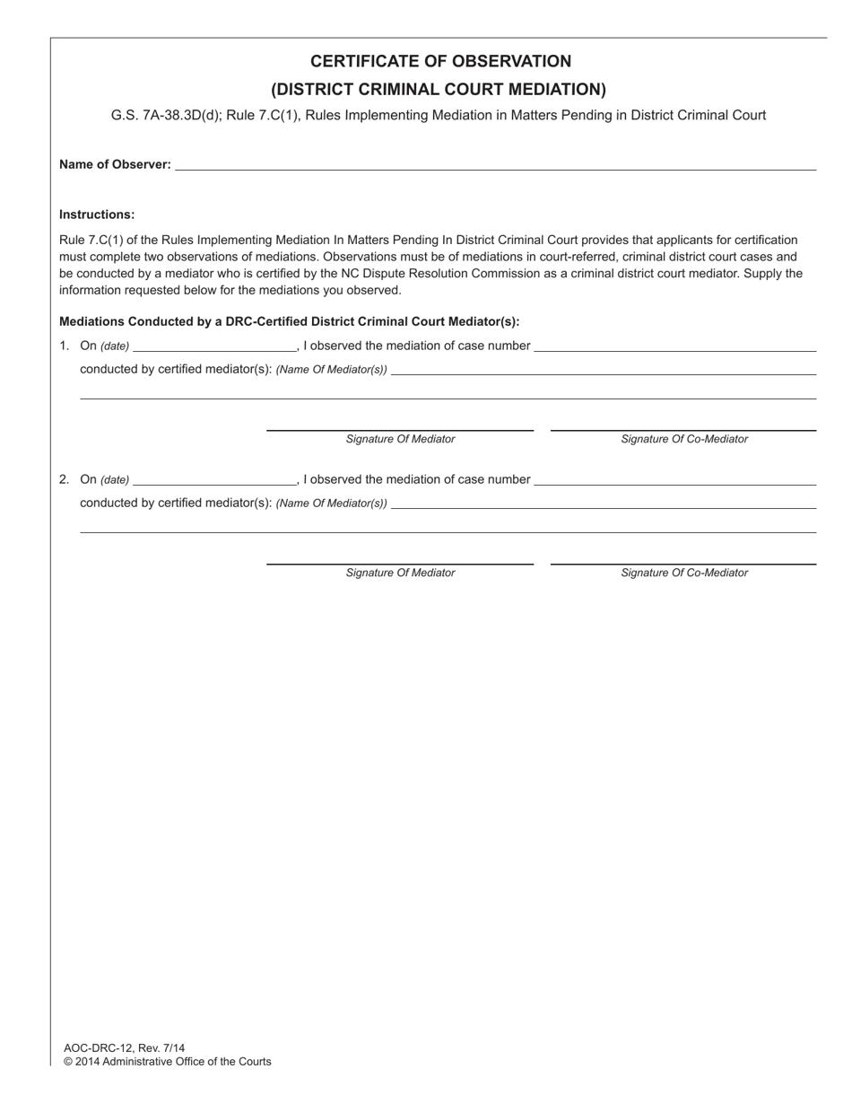 form carolina certificate north court mediation observation criminal drc templateroller aoc district template