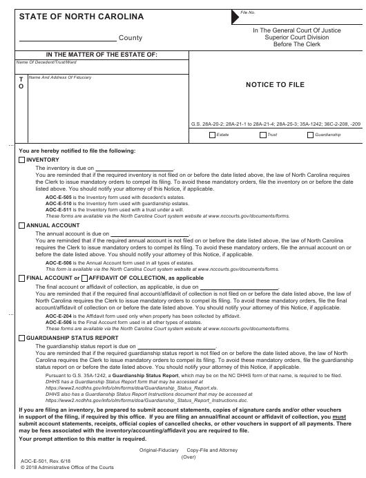 Form AOC-E-501  Printable Pdf
