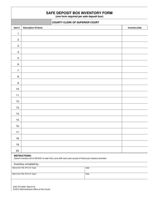 Form AOC-FS-3002  Printable Pdf