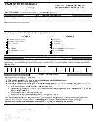 "Form AOC-FS-9 ""Certification of Taxpayer Identification Number (Tin)"" - North Carolina"