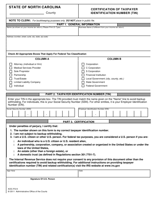 Form AOC-FS-9  Printable Pdf
