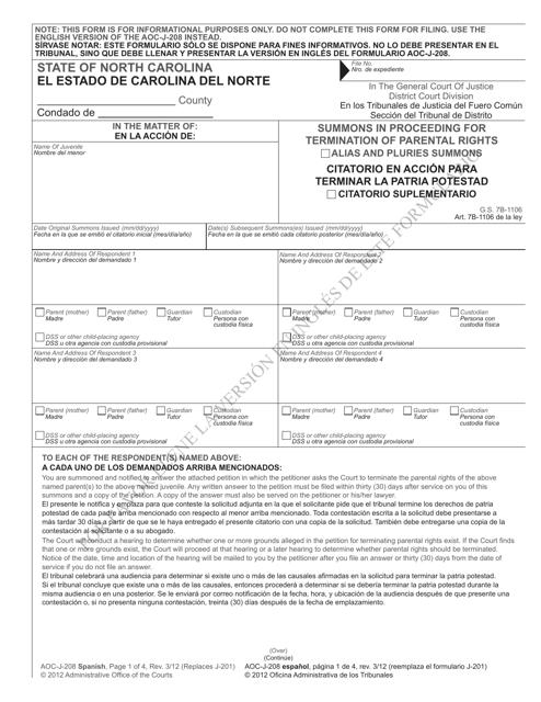 Form AOC-J-208  Printable Pdf