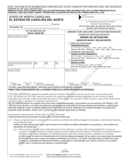 Form AOC-J-440  Printable Pdf