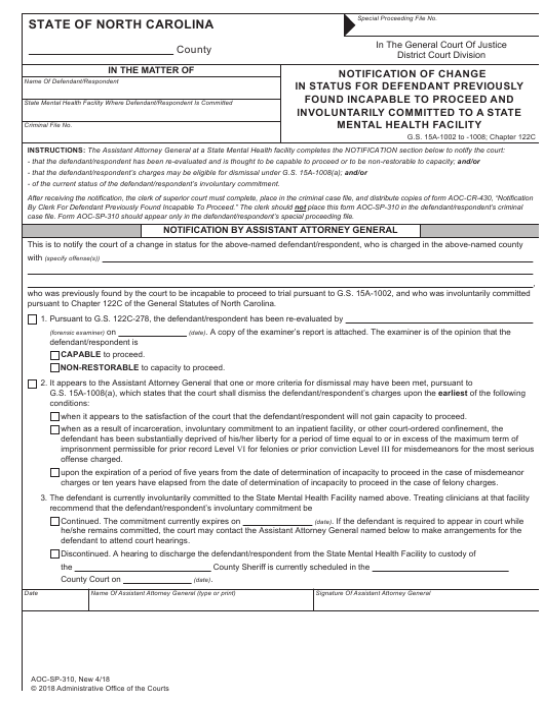 Form AOC-SP-310  Printable Pdf