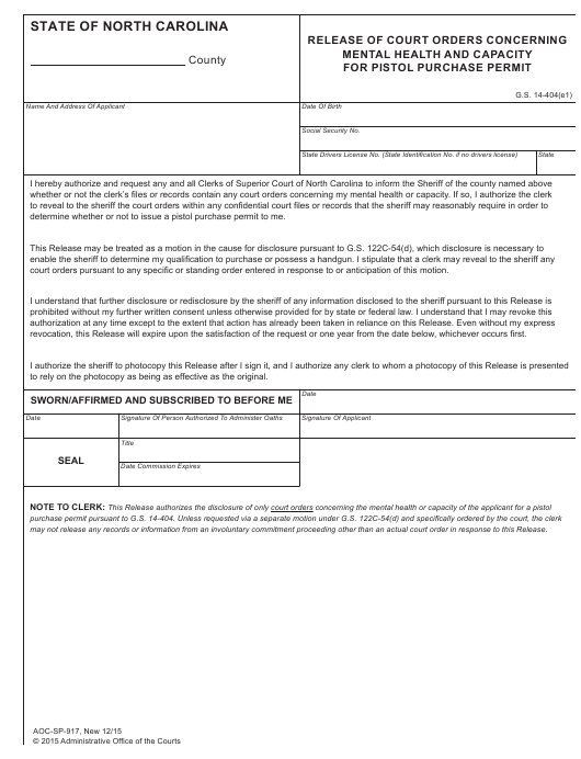 Form AOC-SP-917 Printable Pdf