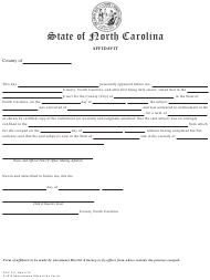 "Form GOV.2-C ""Affidavit (To Be Used for Escapee)"" - North Carolina"