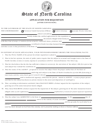 "Form GOV.2 ""Application for Requisition (After Conviction)"" - North Carolina"