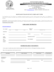 """Mortgage Fraud Notary Complaint Form"" - North Carolina"
