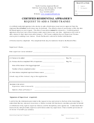 """Certified Residential Appraiser's Request to Add a Third Trainee"" - North Carolina"
