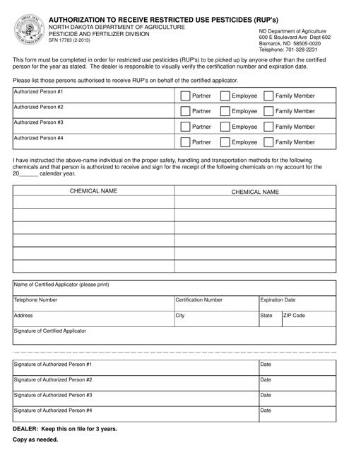 Form SFN17783  Printable Pdf