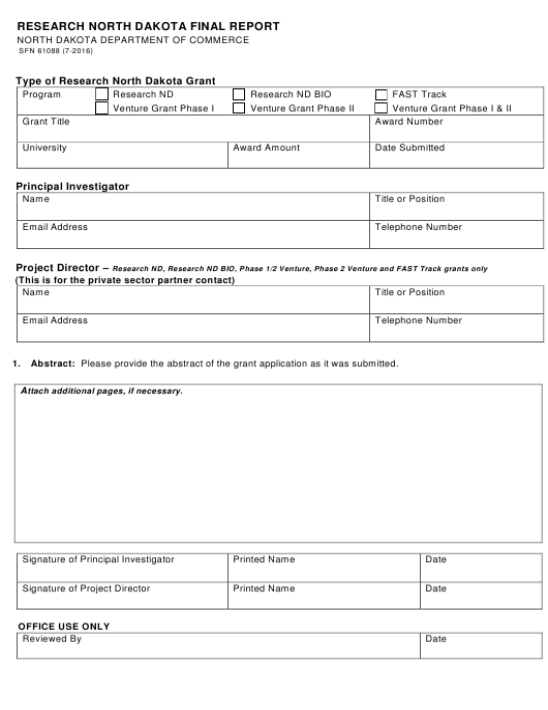 Form SFN61088  Printable Pdf