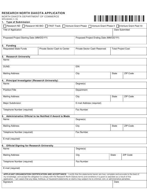 Form SFN60452  Printable Pdf