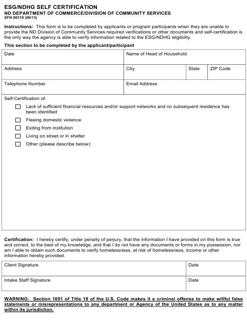 Form SFN60319  Printable Pdf
