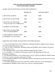 "Form SFN6068 ""Application for Resident/Non Resident Outfitter/Guide License"" - North Dakota"