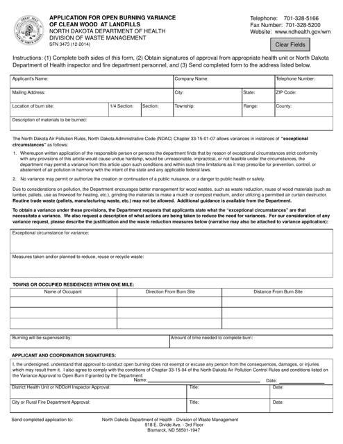 Form SFN3473  Printable Pdf
