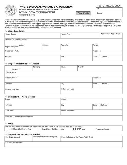 Form SFN51098  Printable Pdf