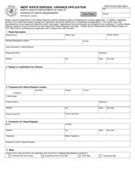 "Form SFN50278 ""Inert Waste Disposal Variance Application"" - North Dakota"